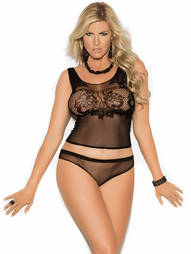 Plus Size Tie Me Down Fishnet Cami Top & Panty Set