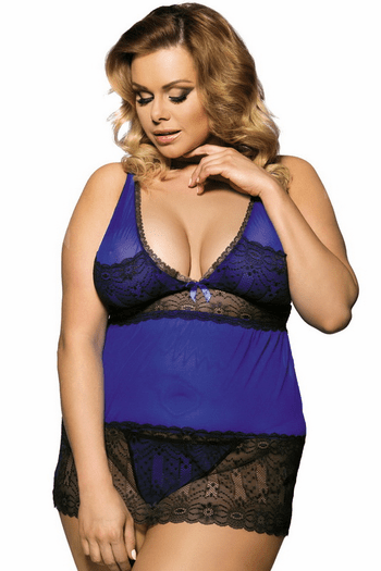 Plus Size Two Toned Lace Babydoll Set