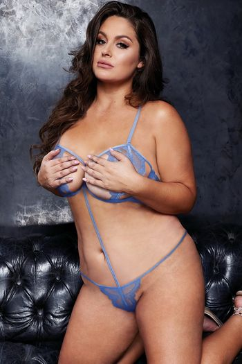 Plus Size VIP Blue Lace Sexy Strappy Teddy