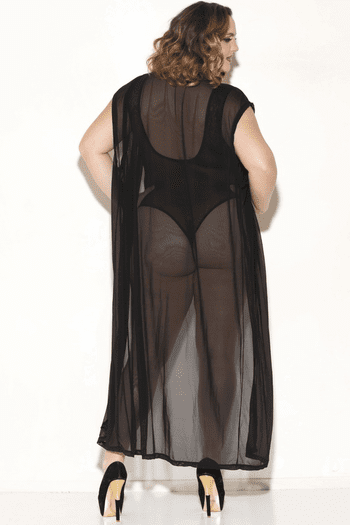 Plus Size Wait A While Sheer Robe