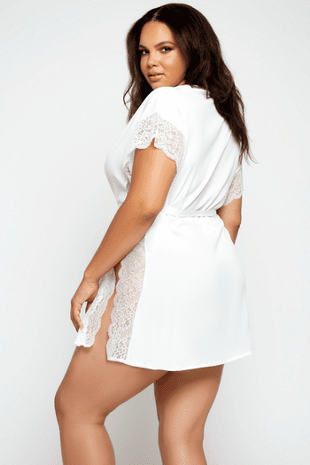 Plus Size White Bridal Lace Kaftan Robe