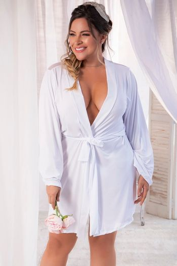 Plus Size White Bride Robe