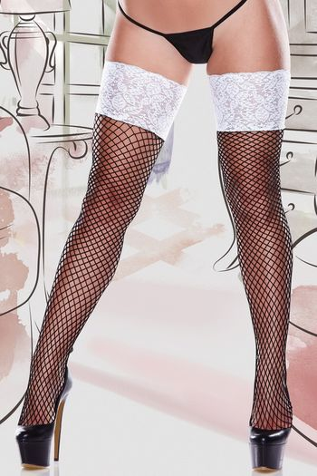 Plus Size White Lace Top Fishnet Thigh High