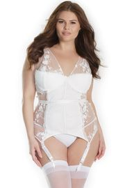 Plus Size White Scalloped Lace Bustier