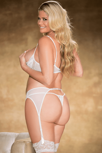 Plus Size White Sequin Embroidered Thong