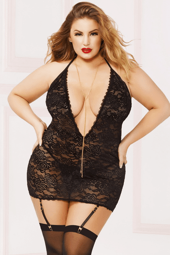 Plus Size You're Not The One Chemise & Thong Set