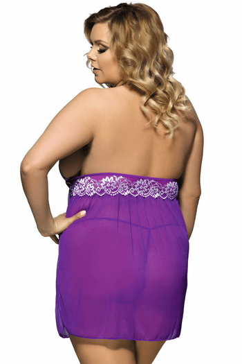 Plus Size Yours Truly Lace Babydoll & G-String Set