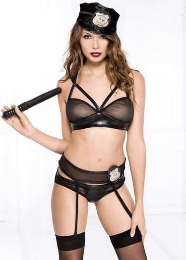 Police Madness Sexy Bedroom Garter Costume