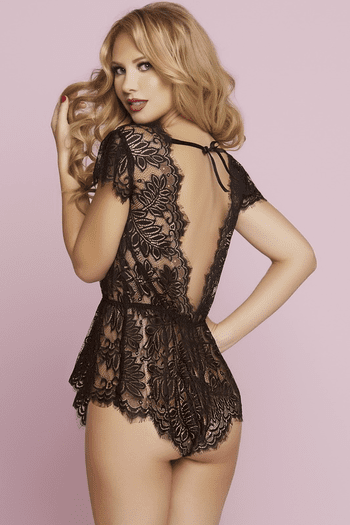 Pretty Eyelash Lace Temptation Snap Crotch Teddy