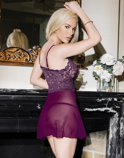 Pretty In Plum Sexy Lace Babydoll & Thong Set
