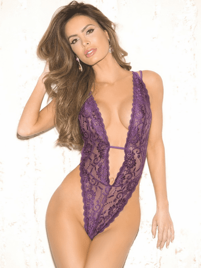 Provocative Plunge Lace Thong Teddy