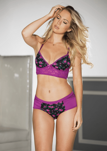 Purple Floral Sexy Boy Short Panty