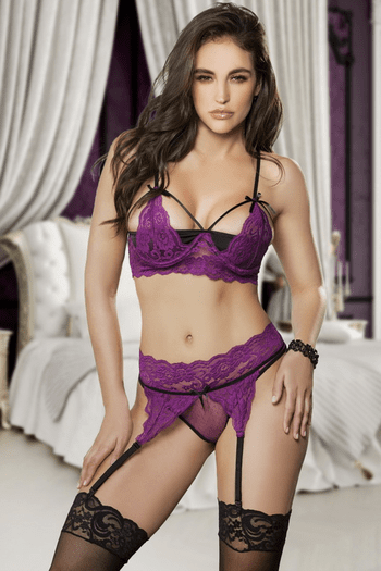 Purple Lace Shelf Bra & Panty Set