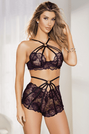 Purple Lace Strappy Bra Set
