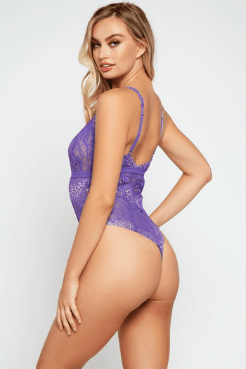 Purple Lace Thong Back Teddy