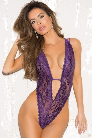 Purple Plunging Lace Teddy