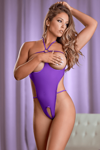 Purple You Know You Want It Cupless & Crotchless Teddy