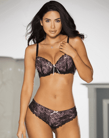 Push Up Pink & Black Lace Bra
