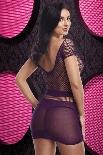 Racy Purple Bodystocking Chemise