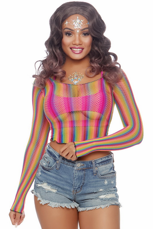 Rainbow Long Sleeve Fishnet Crop Top