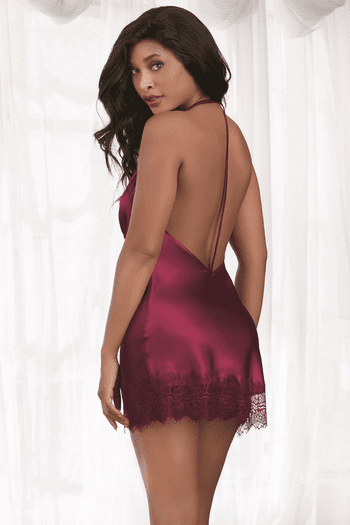 Raspberry Satin Cowl Neck Chemise
