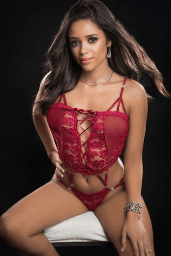 Red Berry Lace Cutout Butterfly Teddy