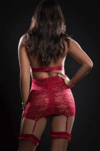 Red Berry Lace Keyhole Gartered Chemise Set