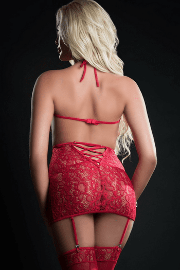 Red Berry Open Bust Gartered Chemise