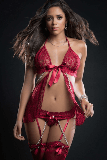 Red Berry Pearls & Lace Fly Away Babydoll