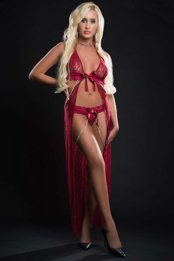 Red Berry Pearls & Lace Fly Away Night Gown
