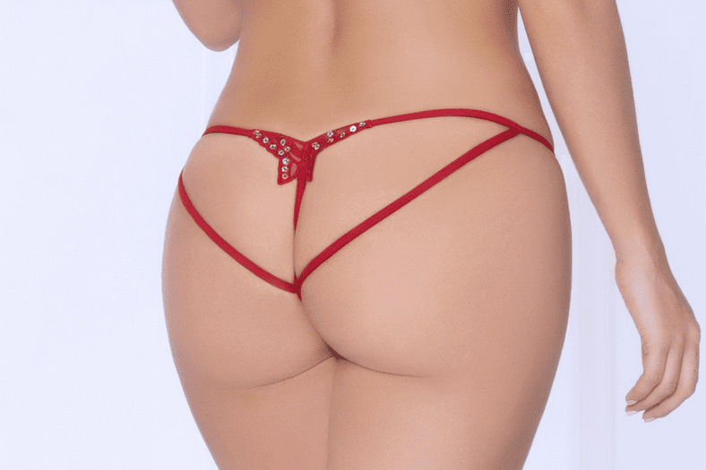 Red Butterfly Open Crotch Panty