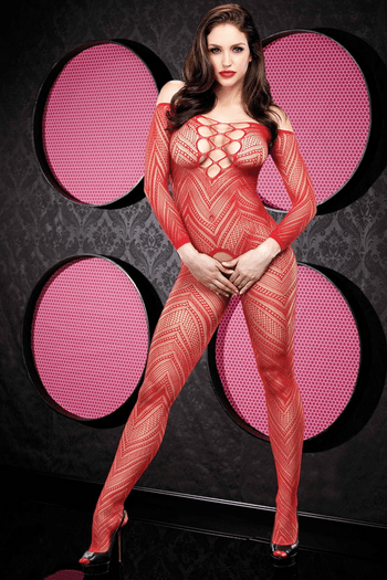 Red Crochet Crotchless Bodystocking