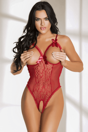 Red Cupless & Crotchless Lace Teddy