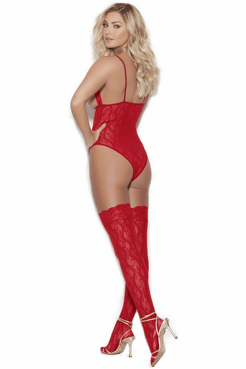 Red Cupless Lace Teddy & Stockings