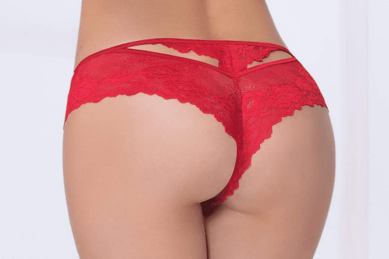 Red Cut-Out Lace Thong