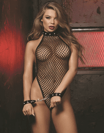 Red Diamond Black Fishnet Teddy & Wrist Cuff Set