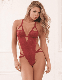 Red Diamond Garnet Day Dreams Lace Crotchless Teddy