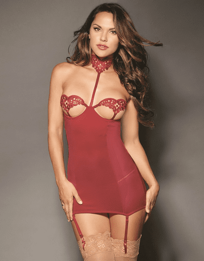 Red Diamond Garnet Goals Sexy Open Cup Garter Chemise