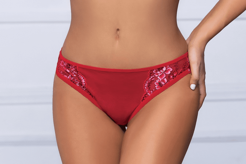 Red Floral Lace Cheeky Panty