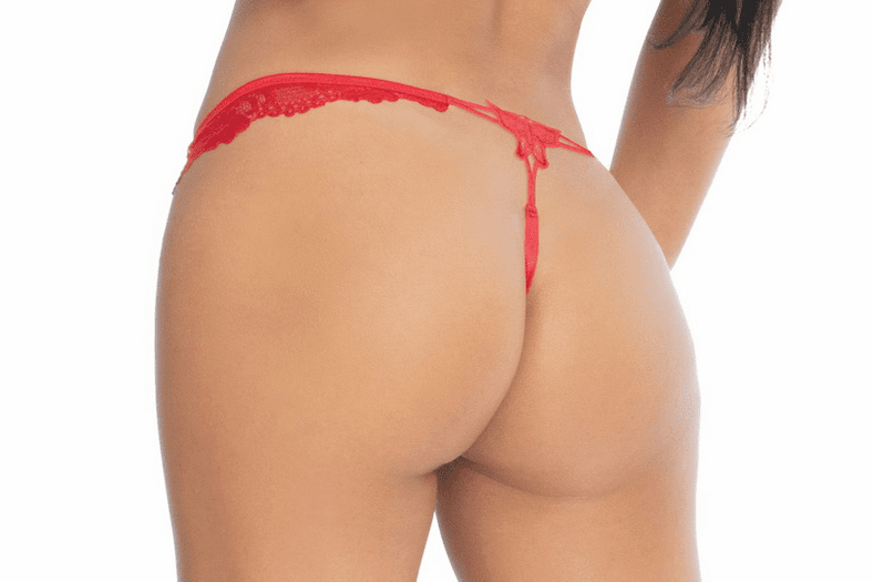 Red Floral Lace G-String