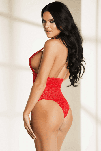 Red Floral Lace Halter Teddy