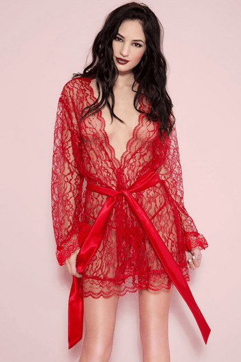 Red Floral Lace Robe
