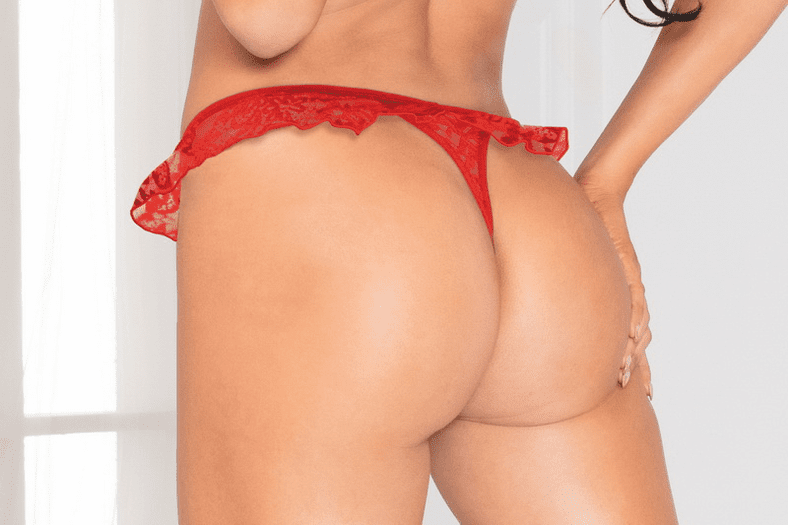 Red Floral Lace Ruffle Thong
