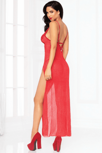 Red Glitter Gown Set