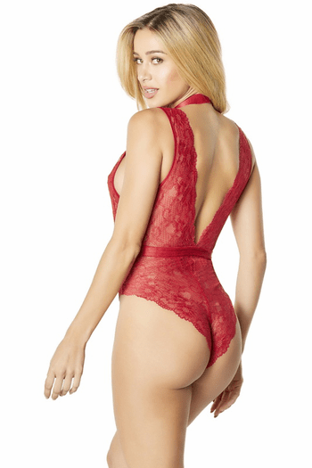 Red Harness Lace Teddy