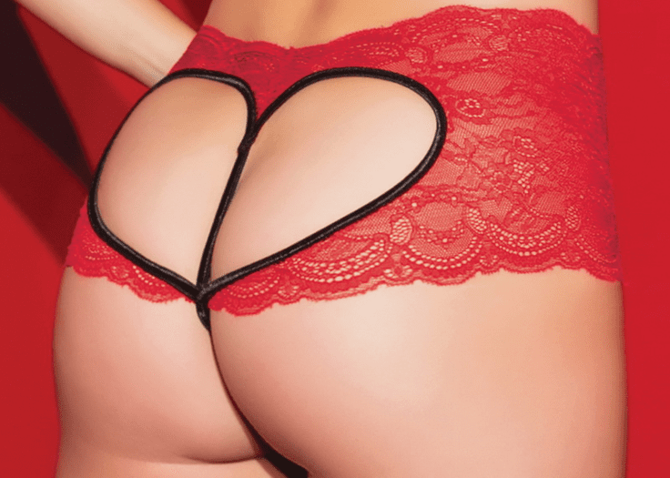 Red Heart Crotchless Panty