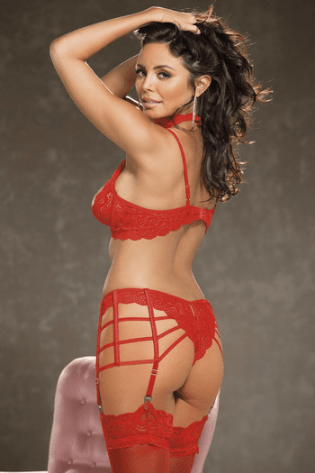 Red Heart Lace Open Cup Bra & Gartini Set