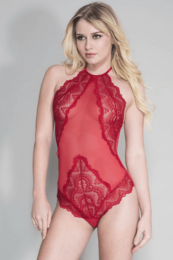 Red High Neck Scalloped Trim Lace Teddy