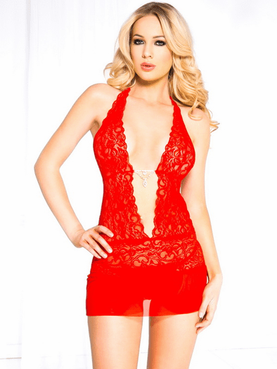 Red Hot Floral Lace Chemise