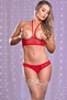 Red Hot Mesh Cupless & Crotchless Bra Set